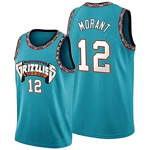 WU NBA Memphis Grizzlies # 12 Jersey Ja Morant Herren Retro Gym Weste Sport T-Shirt,S