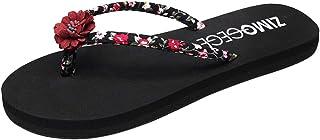 Sencillo Vida Chanclas para Mujer Flip Flops Planas Zapatos de Playa Estilo Bohemia Sandalias de Punta Descubierta para Mujer Chancletas Zapatillas con Rhinestone Aire Libre