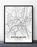 Leinwand Bild,Schweden Göteborg Stadtplan Einfache
