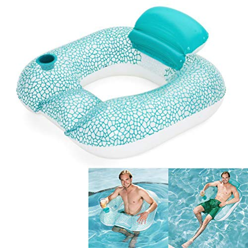 Fovely Water Hammock, Swimming Pool Beach Floating Recliner with Cup Holder Inflatable Float Swimming Pool Beach Chair Lounger Air Mat