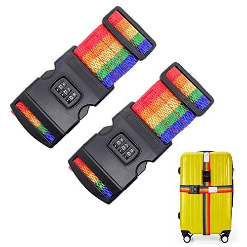 Koffergurt Gepäckgurte, 2 Stück Koffergurt mit Zahlenschloss, Schnallenverschluss, Bunte Verstellbare rutschfeste Koffergurte zum sicheren Schließen Ihres Kofferes und identifizieren Sie ihn