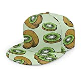 antkondnm Stylized Fresh Kiwi Fruit Flat Brim Hip Hop Adjustable Hat Stylish Snapback Baseball Cap