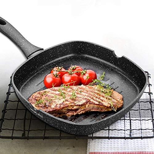 Moldeada plancha sartén antiadherente premium de aluminio for gas, inducción eléctrica Cocina con mango anti-quemaduras, Doble Calderas, natural lucar