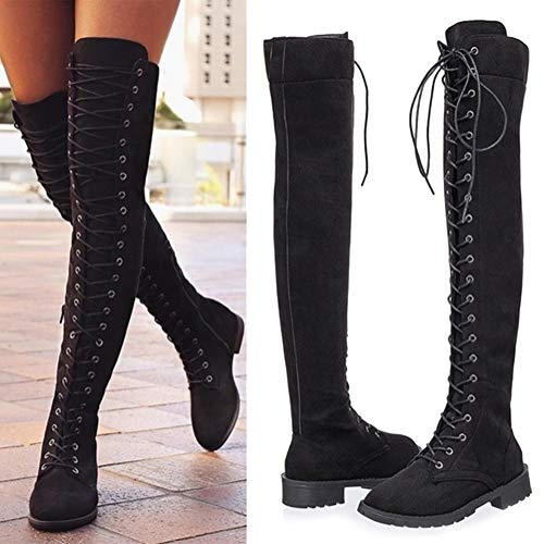 MayBest-Womens-Over-The-Knee-Boots-Thigh-High-Low-Heel-Suede-Lace-Up-Boots