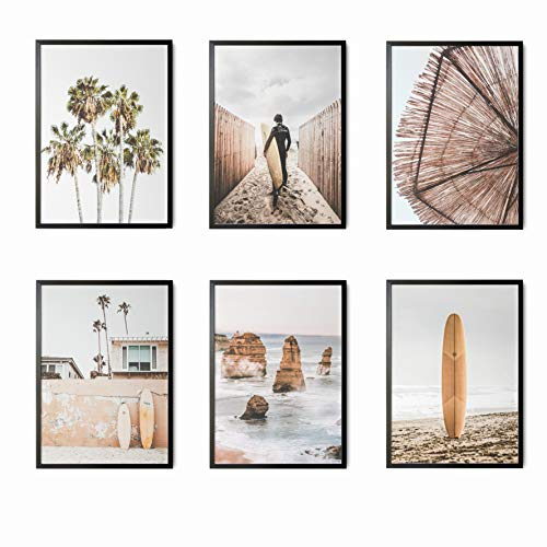 Mapa Mundi Láminas Decorativas para salón, Comedor, habitación, Dormitorio, Pasillo. Set de 6 Posters Modernos DIN A4. Sin Marco. (Surf 2)