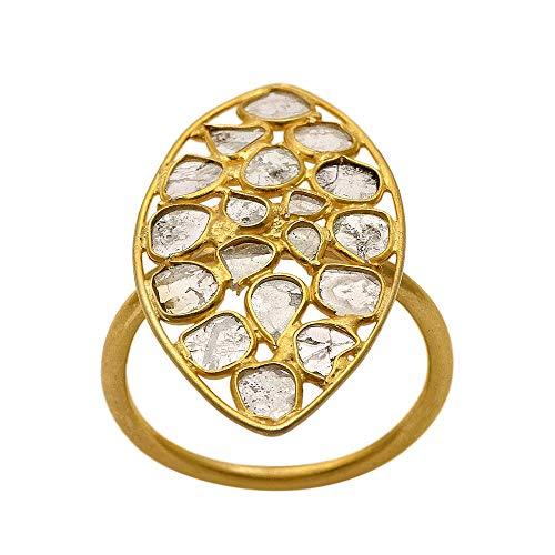 Anillo de diamantes Polki de diseñador con forma de ojo, anillo de plata 925, anillo de diamantes pavé, joyería de oro vermeil, anillo hecho a mano (17)