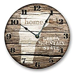 Vermont State Map Wall Clock Old Weathered Boards Rustic Cabin Country Decor