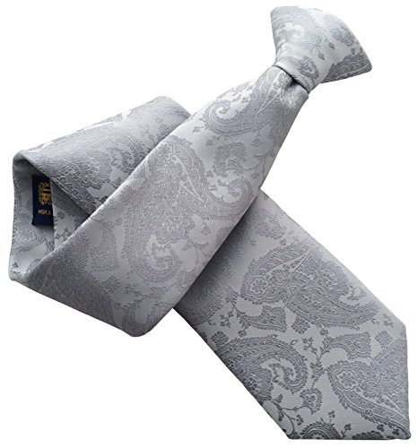 Great British Tie Club Hommes Argent Paisley Clip sur Cravate Cravate à Clip