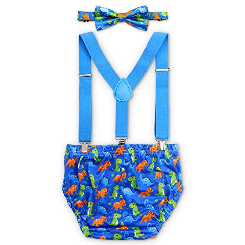 Baby Boy Dinosaur Cake Smash Outfit First Birthday Bloomers Bowtie Adjustable Y Back Suspenders Strap Clip Little Dino Costume Diaper Cover Clothes Set