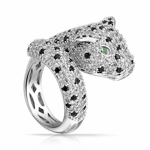 Bling Jewelry Grün Eye Schwarz Weiß Zirkonia CZ Mode Leopard Panther Katze Erklärung Wickelring Ringe Für Damen Messing