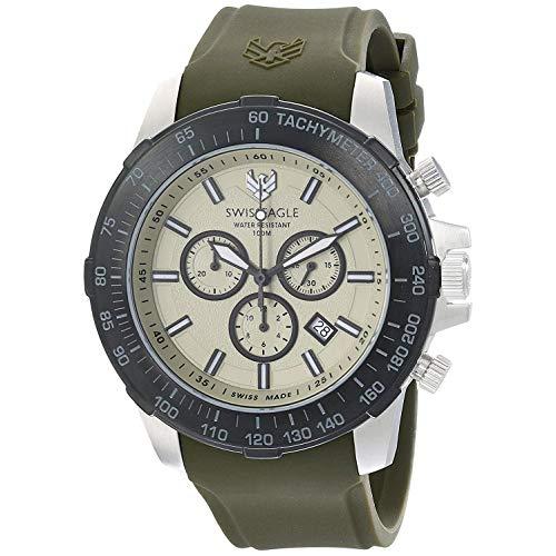 Swiss Eagle Herren Chronograph Quarz Uhr mit Silikon Armband SE-9065-09