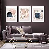 BFDSTY Póster de Crema de Oro Rosa, Arte Abstracto de la Pared, Pintura geométrica, Impresiones en Lienzo de Acuarela, Imagen Moderna, Sala de Estar, decoración de Moda 40x60cnx3 sin Marco