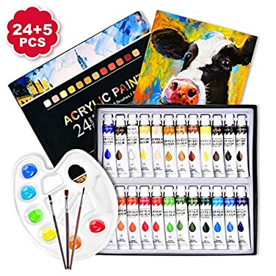 TOPELEK 29pcs Acrylic Paint Set, 24 Colors, 3 Paintbrushes, 1 Palette, 1 Canvas,Perfect for Canvas, Wood, Ceramic, Fabric etc, Good Blending