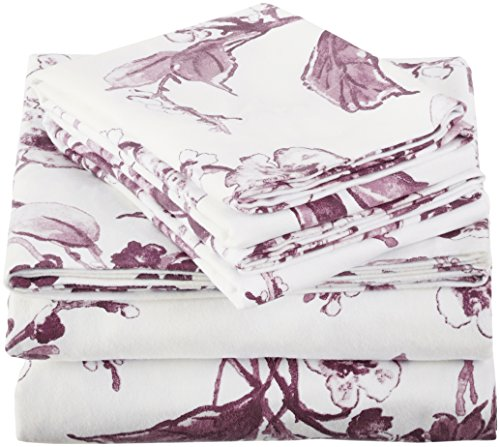 Amazon Brand – Pinzon Signature 190-Gram 100% Cotton Heavyweight Velvet Flannel Bed Sheet Set, King, Floral Amethyst