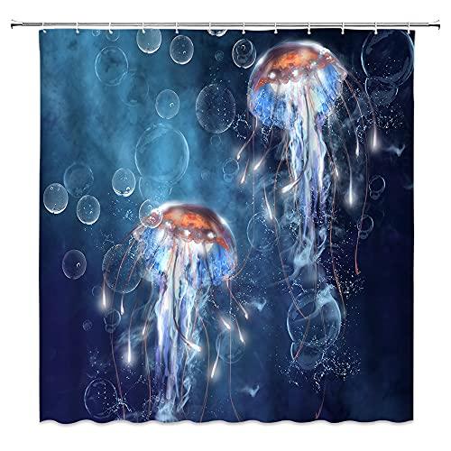 Quallen Duschvorhang Wasserfarben Tiefsee tropische Unterwasserkreatur Blau Ozean Thema Traumblase Fantasy Unterwasserwelt Wildtiere Kinder Junge Mädchen Badezimmer Badewanne Dekoration mit Haken