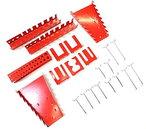 Große Werkzeug Lochwand bestehend aus 4 Lochblechen á 58 x 40 cm und Hakensortiment 22 Teile. Aus Metall in Hammerschlag-Grau und Rot. Gesamtmaß: 160 x 58 x 1 cm - 4
