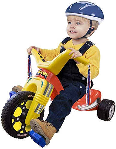 """The Original Big Wheel Junior for Toddlers, Age 18 Months to 3 Years, Blue-Yellow-Red, 8.5"""" Wheel Ride On Tricycle Cruiser, Kid Powered Pedal Bike, 50th Year, Sit Down Riding Push Around Outdoor Toy…"""