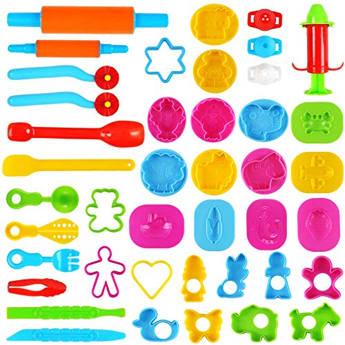 3 otters Clay Dough Tools Kit, 39 PCS Clay Tools for Kids Play Doh Accessories Summer Party with Models and Molds