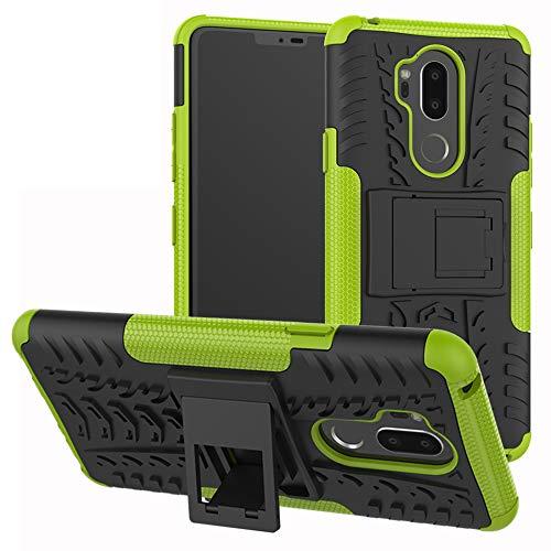 LiuShan LG G7 Funda, Heavy Duty Silicona Híbrida Rugged Armor Soporte Cáscara de Cubierta Protectora de Doble Capa Caso para LG G7 Smartphone(con 4 en 1 Regalo empaquetado),Verde