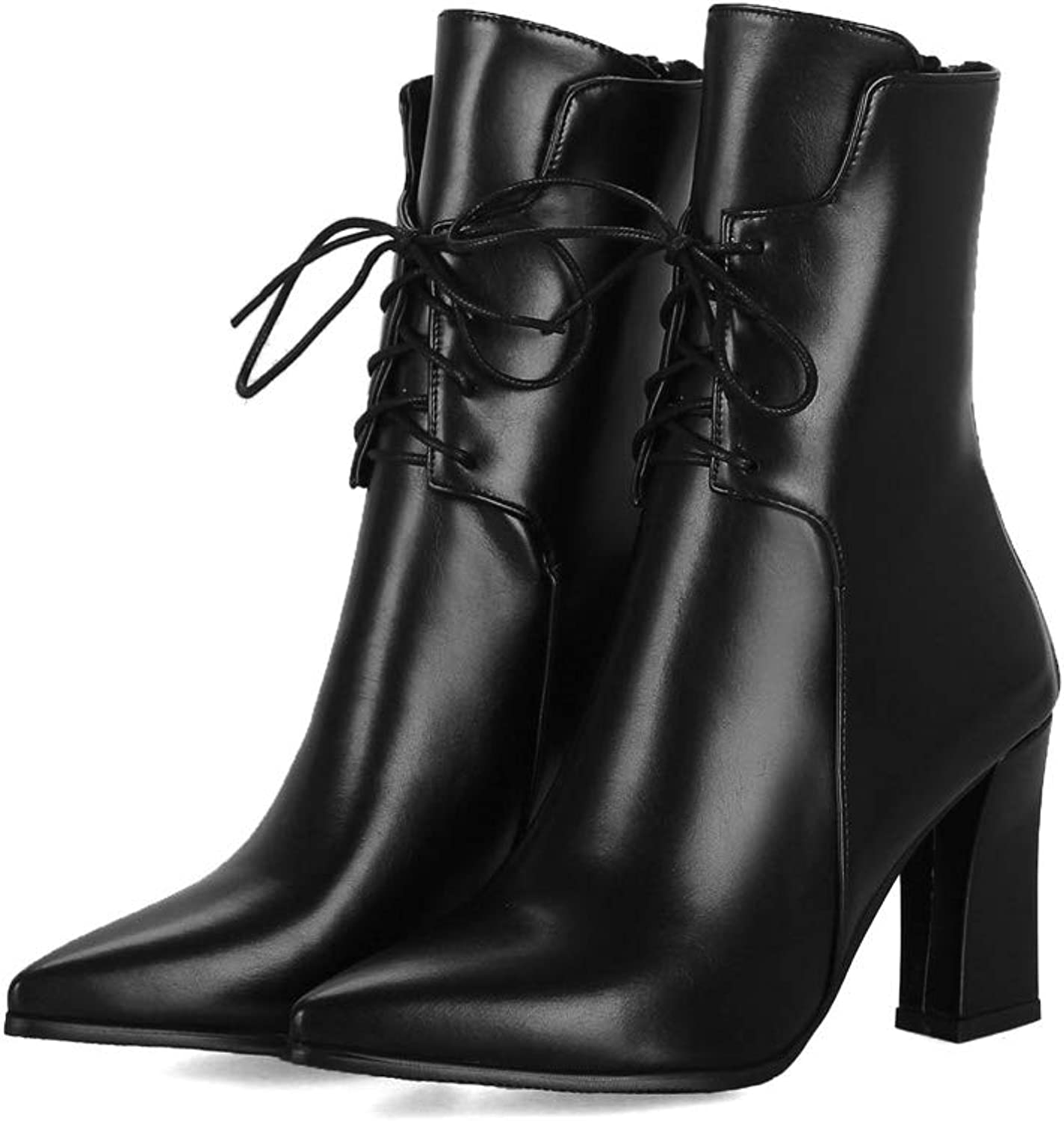 Womens Boots Fall Winter Mid-Calf Boots Ladies High Heel Lace-up Casual shoes