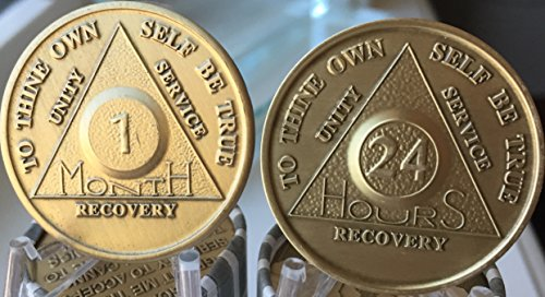 1 Month And 24 Hours AA Medallion Chip Set Serenity Prayer 30 Day Sobriety Chips Bronze