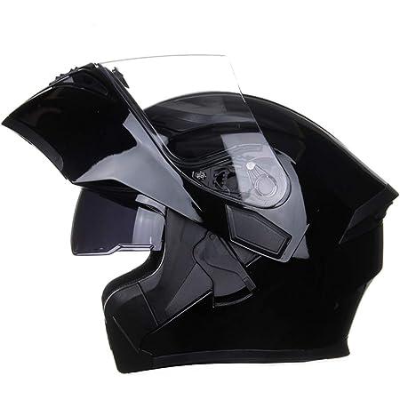 Full Face Motorcycle Helmet DOT Approved Helmets Dual Visor Sun Shield Flip up Modular Motocross Helm (XXL, Gloss Black)