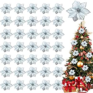 TURNMEON 36 Pack Christmas Gold Silver Glitter Poinsettia Artificial Silk Flowers Picks Christmas Tree Ornaments 4 Inch Wide for Gold Christmas Tree Wreaths Garland Holiday Decoration (Silver)