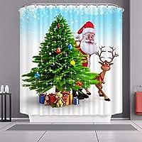 クリスマスシャワーカーテン、ポリエステル生地耐久性のある風呂カーテンの防水カビ簡単に掃除させた、クリスマスの飾りサンタバスタブのカーテン Santa15-80