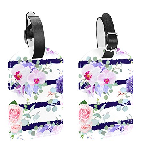 Paquete de 2 etiquetas de identificación de equipaje de cuero para hombres y mujeres, para bricolaje, maleta, bolsa de equipaje, etiqueta rosa, orquídea y clavel violeta