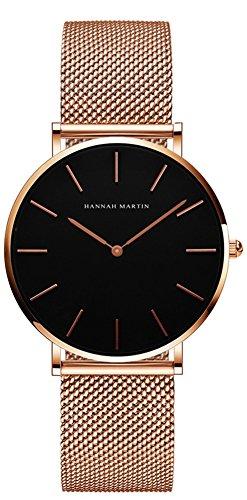 Uhren Damen Milanaise Armband, Zeitloses Design Ultraflach Damenuhr, Classic Analog Damen Armbanduhr, Elegant Quarzuhr für Frauen Rose Gold Schwarz.Moomon