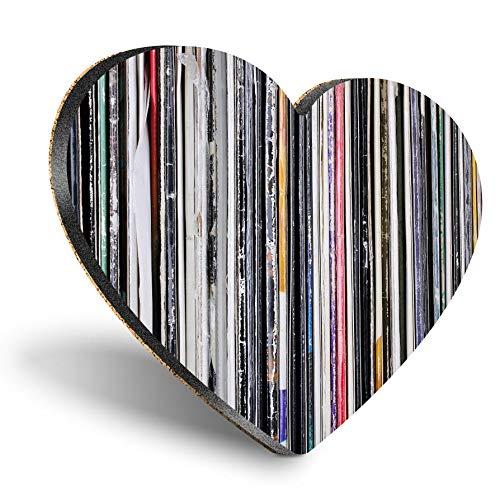 Posavasos con forma de corazón de MDF, discos de música de vinilo, retro, estilo vintage, con calidad brillante, protección de mesa para cualquier tipo de mesa #24400
