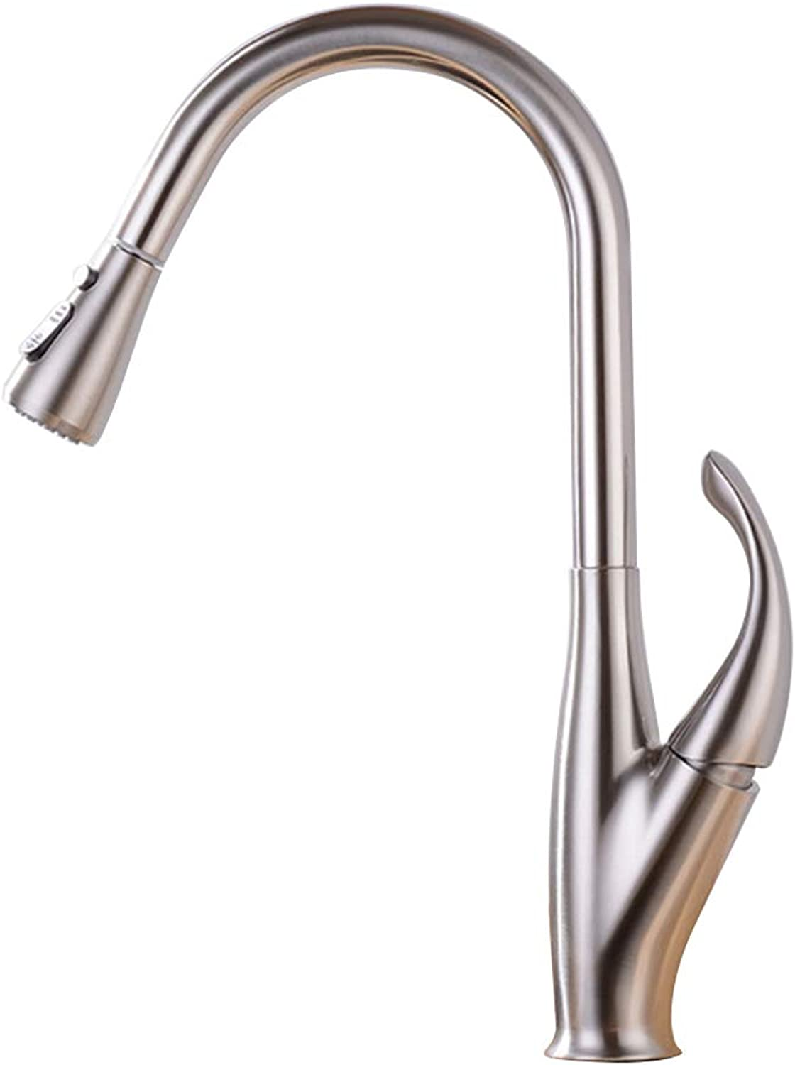 Kitchen Sink Faucets Single Handle Single Hole Swivel 360 Degree Pull Out 3 Functions Water Mixer Tap Brass,Silver