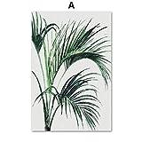 TYLPK Grüne Monstera verlässt Tropische Pflanze Wandkunst Leinwand Gemälde A1 20X25 cm No Framed