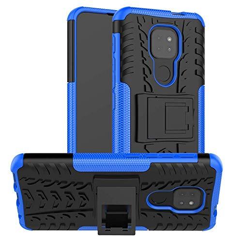 Newlike Moto E7 Plus, Back Cover, Premium Real Hybrid Shockproof Bumper Defender Cover, Kick Stand Hybrid Desk Stand (Blue) Back Case Cover for Motorola Moto E7 Plus