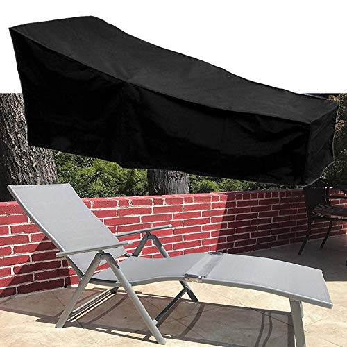 ELR Black Chaise Lounge Chair Cover Waterproof Dust-Proof Patio Chaise...