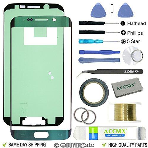 ACENIX® - Kit de reparación de lente de repuesto para Samsung Galaxy S6 Edge verde esmeralda + cinta de 2 mm y herramientas de reparación de apertura