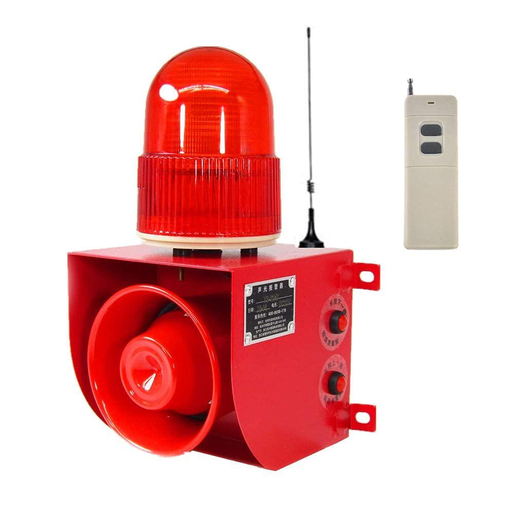 Wireless Remote Control Alarm Siren Industrial Sound Light Alarm Security Siren Horn Alarm Waterproof Emergency Strobe Warning Light 120dB Outdoor (AC 110V)