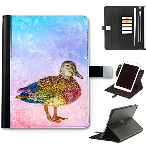 Mallard Duck Case For Apple iPad Pro 12.9 (2020) (4th Gen) 12.9 inch, Watercolour Art Print leather iPad Case, side flip wallet case, 360 swivel folio cover