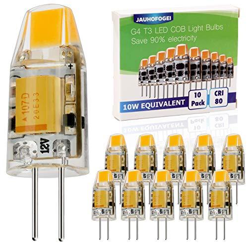 JAUHOFOGEI 10pz Lampadina LED COB G4 da 1W (Equivalenti a 10W Alogena), 12V DC AC, Luce Bianco Caldo 2800K, Ra80, 120lm, non dimmerabile, Jc LED Faretto