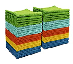 【All-Purpose Microfiber Cleaning Towels】--AIDEA Cleaning Cloths are made of 87% Polyester 13% Polyamide. Softer, More Absorbent, Lint-Free. Cleaning everything just with water, streak-free, lint-free, non-abrasive. 【Soft & Lint Free】--Multifunctional...