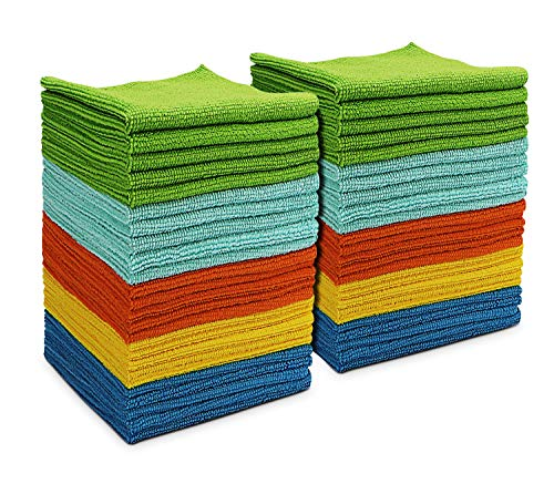 AIDEA Microfiber Cleaning Cloths All-Purpose Softer Highly Absorbent, Lint Free - Streak Free Wash Cloth for House, Kitchen, Car, Window, Gifts(12in.x 12in.)-(Pack-50)
