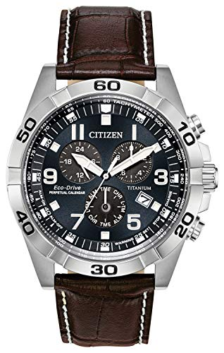 Citizen Eco-Drive Brycen Chronograph Mens Watch, Super Titanium with Leather strap, Weekender, Brown (Model: BL5551-06L)