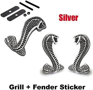 2pcs Sets AM102 Cobra Front Grille Silver + Back Sticker Car Emblem Badge For Ford Mustang Shelby Cobra