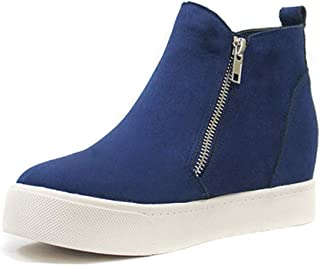 Women's Concise Platform Wedge Sneakers Hollow Out Hidden Heel Walking Shoes