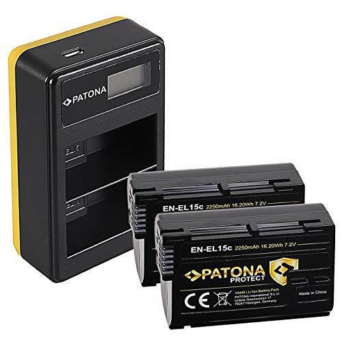 PATONA Cargador Doble LCD USB con 2X EN-EL15C Protect Batería Compatible con Nikon Z5, Z6, Z6II, Z7, Z7II, D7500