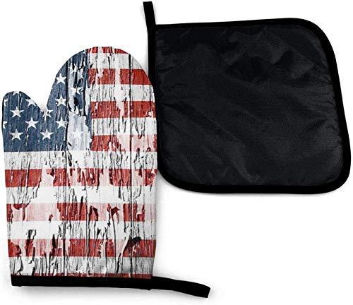 Vintage Madera Incompleta Bandera Americana Patriot Horno De Microondas Mitones Y Porta Ollas Juego De Cubierta Aislamiento Térmico Manta Alfombrilla Manoplas Guantes Antideslizantes BBQ