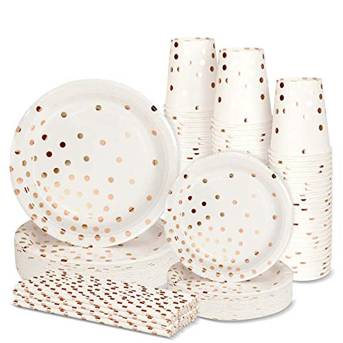 200PCS Disposable Paper Plates Party Supplies- Rose Gold Dots 50 Dinner Plates 50 Dessert Plates 50 Paper Straws and 50 9 oz Cups Biodegradable Heavy Duty for Birthday Wedding Party