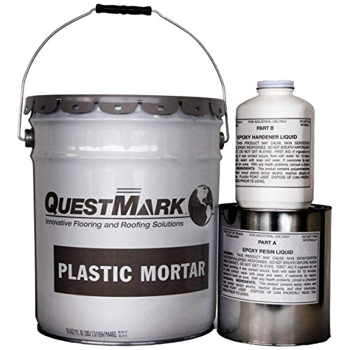 QuestMark 2105 Standard Epoxy Concrete Floor Patch and Resurfacer - 5 Gallon Unit, Light Gray - Three Component 100% Solids Mortar - Fill and Repair Cracks, Holes, Pits and Spalling
