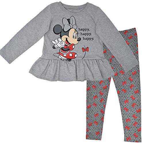 Disney Minnie Mouse Toddler Girls Long Sleeve Ruffled T-Shirt and Leggings Set Grey 3T
