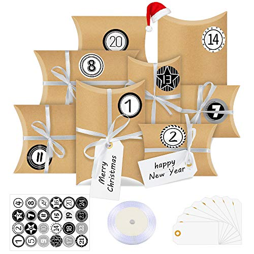 Bluelves Calendario Dell'avvento, 24 Avvento Calendario Avvento da Riempire, con Adesivi Numerici, Calendario Avvento da Riempire, Sacchetti Calendario, DIY Calendario Avvento per Natale Festa(retrò)
